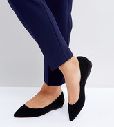 ASOS - LATCH - Ballerine a punta a pianta larga - Nero