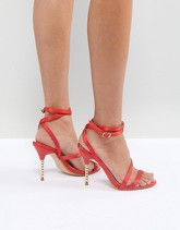 Truffle collection sandali con tacco e fiocco rosso asos