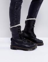 Dr Martens - Aimilita - Stivali con 9 occhielli e pelliccia sintetica - Nero b3733f4901a