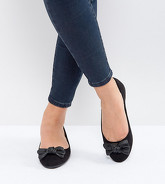 New Look Wide Fit - Ballerine con fiocco - Nero