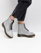 Dr Martens - Scarponcini stringati vegan friendly color argento effetto serpente - Argento