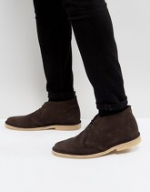 Pier One - Desert boots in camoscio marrone - Nero