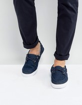 ASOS - Scarpe da barca in denim - Blu